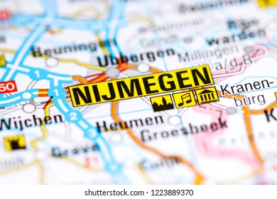 Nijmegen. Netherlands on a map