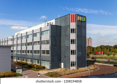 Nijmegen, Netherlands, September 2018. Building of the NXP semiconductor company's R&D and manufacturing department, with visible logo.