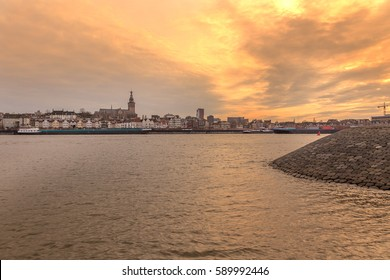 Nijmegen seen from across the river Waal at sunset