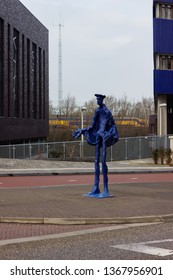 Nijmegen/Netherlands - February 10 2018: Abstract statue of a police officer outside of the Nijmegen Police Station