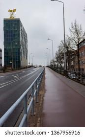 Nijmegen/Netherlands - February 10 2018: Deserted main road of Nijmegen during Carnaval weekend celebrations