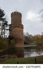 Nijmegen/Netherlands - February 10 2018: Nijmegen Castle and war fort during Carnaval weekend with the pond frozen