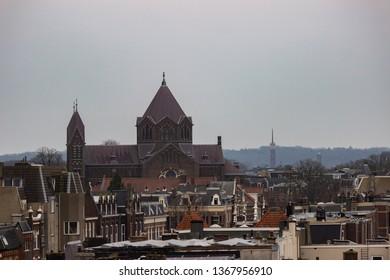 Nijmegen/Netherlands - February 10 2018: Rooftop view of the village of Nijmegen during Carnaval weekend
