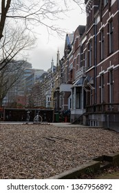 Nijmegen/Netherlands - February 10 2018: Traditional housing in Nijmegen seemingly deserted as people are out celebrating Carnaval