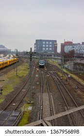 Nijmegen/Netherlands - February 10 2018: Train interchange at the Nijmegen railway station.