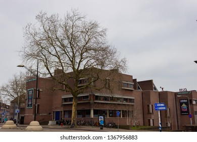 Nijmegen/The Netherlands - January 27 2018: Nijmegen Cultural Centre with colorful posters on display