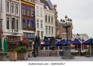 Nijmegen/The Netherlands - January 27 2018: Restaurants in Nijmegen in the courtyard outside St Steven's Cathedral