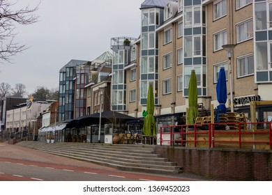 Nijmegen/The Netherlands - January 27 2018: River side restaurants in Nijmegen before the lunch hour rush on a cold winter morning