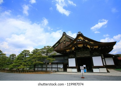 Nijo castle against blue sky in Kyoto, Japan