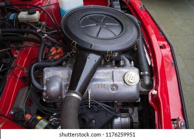 NIJVERDAL, NETHERLANDS - MAY 7, 2017: Engine of an Audi oldtimer car