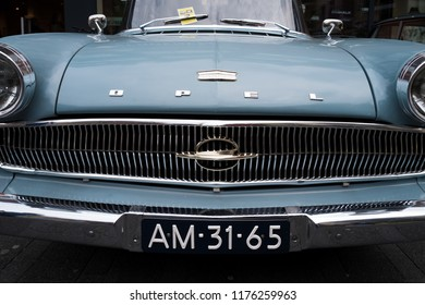 NIJVERDAL, NETHERLANDS - MAY 7, 2017: Front view of a classical Opel Kapitan oldtimer car with dutch license plate.
