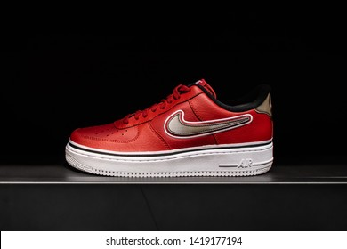 Nike Air Force 1 '07 LV8 Sport NBA mens shoes inspired by famed basketball outfit of the Chicago Bulls. Sneaker, trainer detailed closeup view on black background. Krasnoyarsk, Russia - June 3, 2019