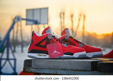 34b6484a36b Nike Air Jordan IV Retro basketball shoes in fire red, cement grey and  black colors