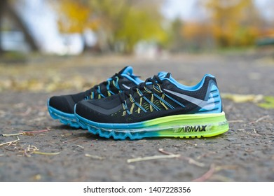 Nike Air Max 2015 running shoes, sneakers, trainers close up view, shot outdoors during autumn day. Sport and casual footwear concept. Krasnoyarsk, Russia - October 10, 2014