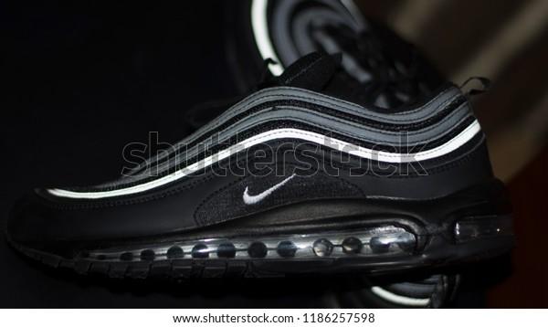 Nike Air Max 97 Black Siver Stock Photo