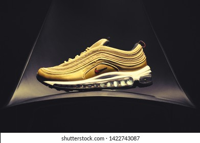 522749bfb3 Nike Air Max 97 running shoes, sneakers, trainers close up view, shot on
