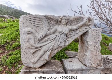 Old greek goddess. Nike statue in Ephesus Ancient City