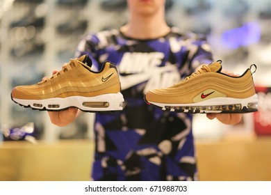 Nike store. Nike Air Max shoes in hands. Ukraine, Kiev - June 20