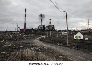 NIKEL, RUSSIA - OCTOBER 23, 2016: The Norilsk-Nikel factory in Nikel, Russia. The factory produces nickel.