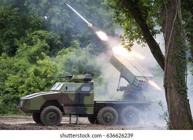 """NIKINCE-MAY 09.Multiple rocket launcher on """"Steel 2017-Celebration of the Serbian Army, Victory Day and Europe Day"""".On May 09,2017 in Nikince,Serbia"""