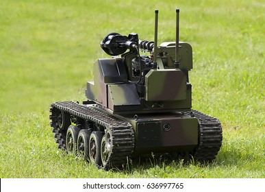 """NIKINCE-MAY 09.Robotic combat vehicle """"Steel 2017-Celebration of the Serbian Army, Victory Day and Europe Day"""".On May 09,2017 in Nikince,Serbia"""