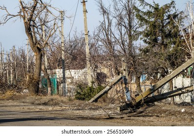 NIKISINO, UKRAINE - Feb 27, 2015: General view of the street. Village Nikishino located 20 km from Debaltseve, Ukrainian military was abandoned three days ago. Separatist attacked it for several days.