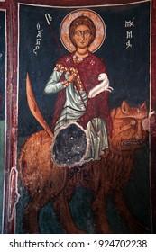 Nikitari, Nicosia, Cyprus- 11.6.2008 : colourful hagiography of Saint  Mammas  in  Panagia Forviotissa (Asinou) , a Christian church of the beginning of the 12th century. UNESCO World Heritage Site
