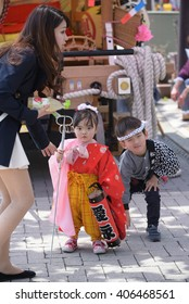 NIKKO, JAPAN - APRIL 16: People of Nikko celebrate Yayoi festival on April 16, 2016 in World-Heritage Futarasan Jinja Shrine,Nikko Japan.It is a traditional event, which started in 767-770 .