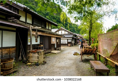 Nikko, Japan - June 29, 2014: one of the streets in Edo wonderland park, themed on a medieval Japanese city of Edo, now Tokyo