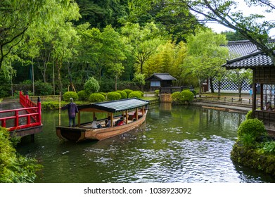 Nikko, Japan - June 29, 2014: old-fashioned boat in the canal of Edo wonderland theme park