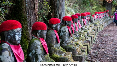 Nikko, Japan - nov 03 2017 : statues of Jizo, divinity who takes care of the children died from illness