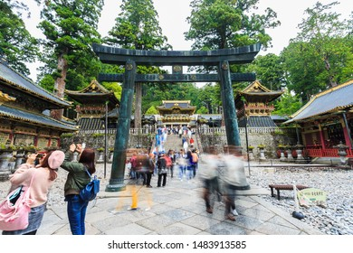 Nikko, Japan - October 15, 2018: Tourists visit of the Nikko Toshogu Shrine temple in Nikko at autumn, Japan.