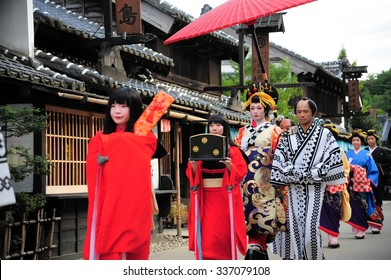 NIKKO, JAPAN - OCTOBER 6, 2015: Geisha parade at Edo Wonderland in Nikko Edomura Edo Wonderland is a history theme park recreating Japanese town life during the Edo Period 1603-1868.