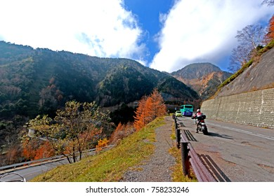 NIKKO-JAPAN-OCTOBER 23 : Autumn Season near the road in Japan, October 23, 2015  Nikko Japan