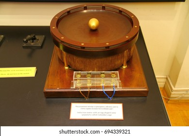 NIKOLA TESLA MUSEUM, BELGRADE, SERBIA - 19 September 2015. Egg of Colombus, the induction motor with an egg shaped rotor