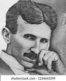Nikola Tesla portrait on Serbia 100 dinars banknote close up macro, genius  physicist. Black and white