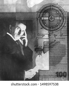 Nikola Tesla portrait on Serbia 100 dinars banknote close-up. Black and white image