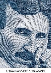Nikola Tesla portrait on Serbia 100 dinars banknote extreme macro, Serbian money closeup