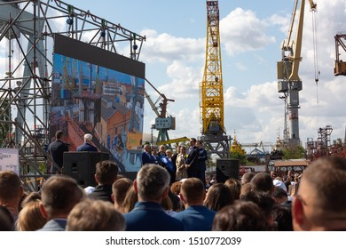 Nikolaev, Ukraine - September 20 2019: An important event in the shipbuilding industry - the opening of the international forum TRANS EXPO ODESA-MYKOLAIV 2019.