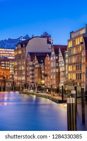The Nikolaifleet in Hamburg, Germany, at dusk. It is a canal in the old town (Altstadt) and is considered one of the oldest parts of the Port of Hamburg.