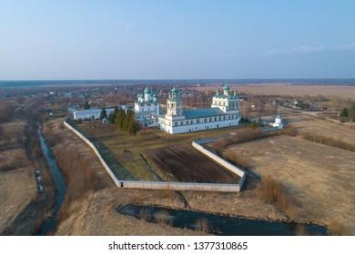 Nikolo-Vyazhischsky monastery in the April landscape (aerial photography). Vyazhishchi, Novgorod region. Russia