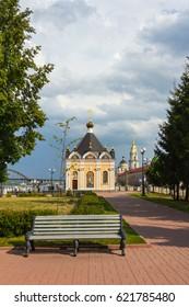 Nikolskaya chapel on the Volga embankment in Rybinsk, Russia