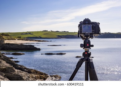 Nikon and Manfrotto symbiotically helping to produce beautiful landscape photographs along Cornwalls South East Coastline. Editorial April 27/04/2017