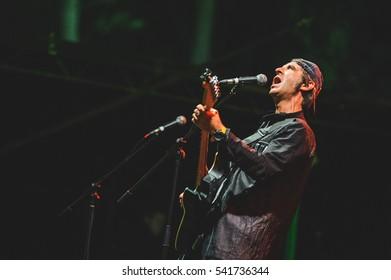 Niksic, Montenegro - August 11th: Serbian pop band Bajaga i instruktori performing at Lake Fest 2016 on august 11th 2016 at Krupac lake, Niksic, Montenegro