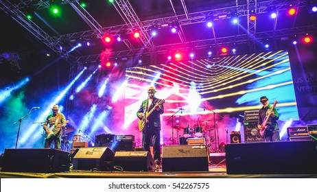 Niksic, Montenegro - August 13th: Serbian rock band YU Grupa performing at Lake Fest 2016 on august 13th 2016 at Krupac lake, Niksic, Montenegro