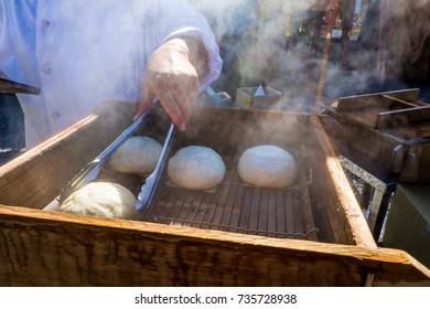 Nikuman - Japanese steamed buns, street food in Kyoto, Japan