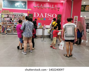 Nilai, Malaysia - 19/5/2019 : Unidentified people at the Daiso outlet in AEON Nilai. Daiso is a large franchise of 100-yen shops founded in Japan with its headquarters are in Higashihiroshima