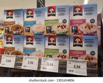 Nilai, Malaysia - 26 January 2019 : Stacked box of QUAKER Instant Oatmeal display for sell in the supermarket shelf.