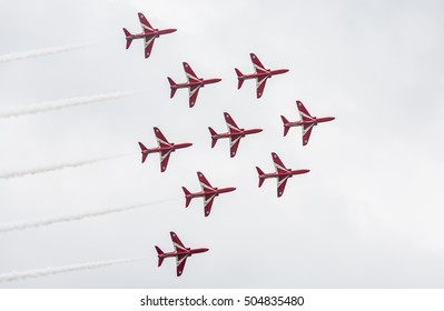 Nilai, Malaysia, October 17, 2016 - Public-Event, RAF Red Arrows Formation Fly Past.