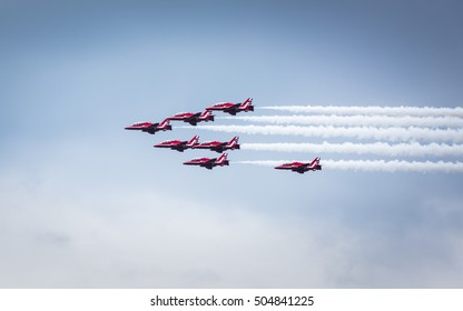 Nilai, Malaysia, October 17, 2016 - Public-Event RAF Red Arrows formation fly past display.